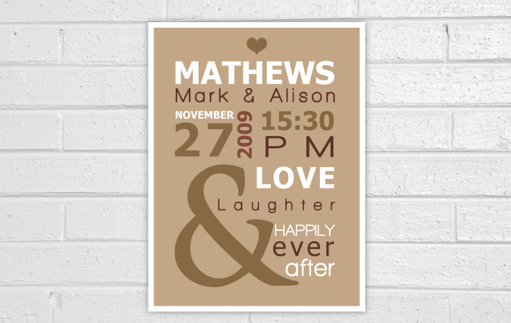 Wall Art With Wedding Date : Couple wedding date wall art special days creations